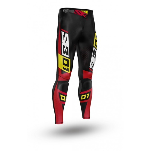S3 01 RIDING PANTS - RED/YELLOW/BLACK
